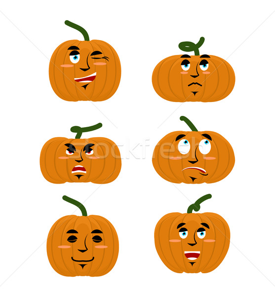 Emotions pumpkin. Set expressions avatar for Halloween. Good and Stock photo © popaukropa