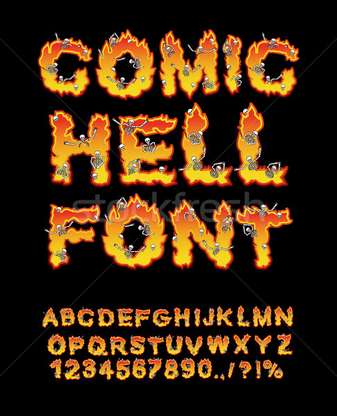 Comic Hell font. inferno ABC. Fire letters. Sinners in hellfire. Stock photo © popaukropa