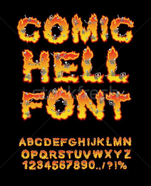 Cómico infierno fuente infierno fuego cartas Foto stock © popaukropa