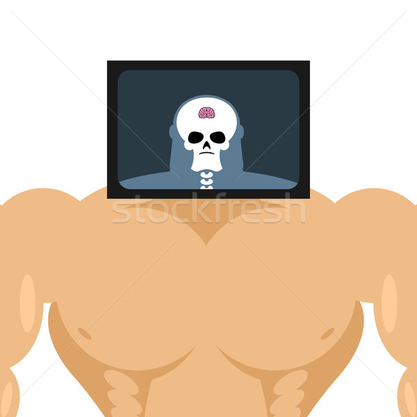 X-ray head bodybuilder. large muscles and small brain. Structure Stock photo © popaukropa