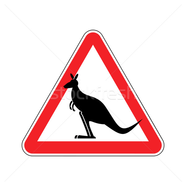 Stock photo: Kangaroo Warning sign. wallaby Hazard attention symbol. Danger r