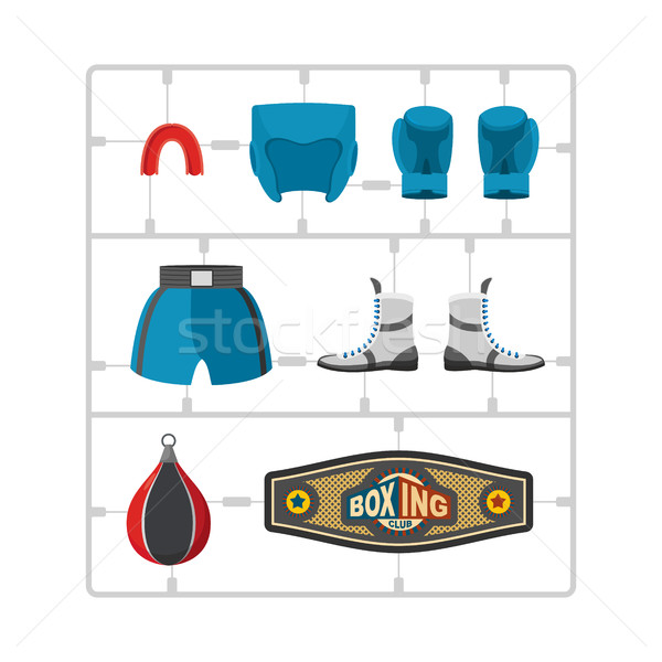 Boxing set Plastic Model kit. Collection champion. Gloves and pr Stock photo © popaukropa