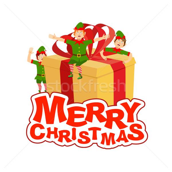 陽気な クリスマス サンタクロース エルフ ヘルパー ボックス ストックフォト © popaukropa