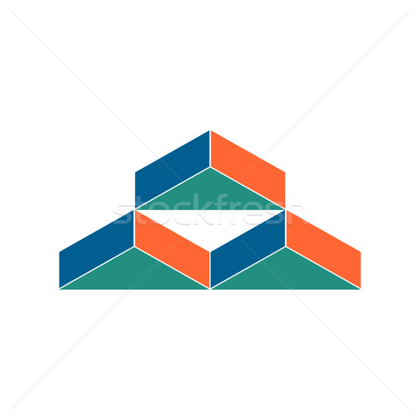 Warehouse logo. Abstract barn hangar. Geometric emblem. Sign for Stock photo © popaukropa