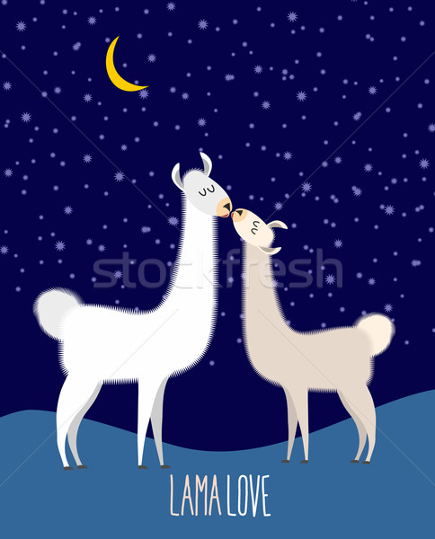 Llama Alpaca. Two cute llama Kiss at night under the starlit sky Stock photo © popaukropa