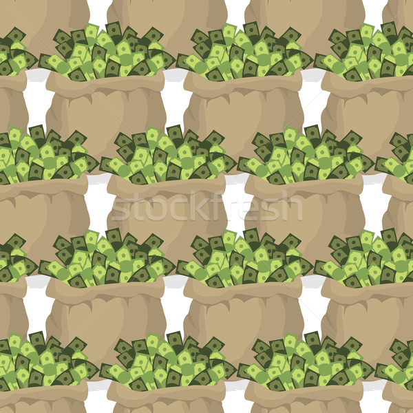 Bag with money seamless pattern. Many dollars in bags. Texture w Stock photo © popaukropa
