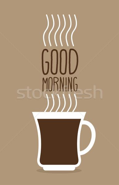 Fincan sıcak kahve buhar sabah iyi poster Stok fotoğraf © popaukropa