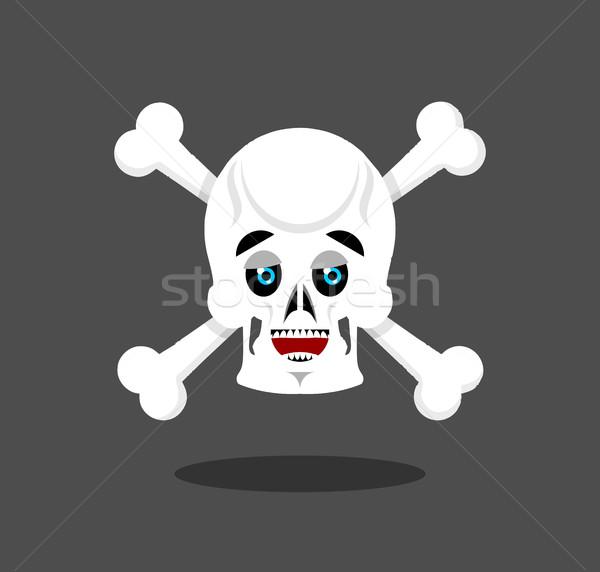 Happy skull emotion. Crossbones. lucky skeleton head Stock photo © popaukropa