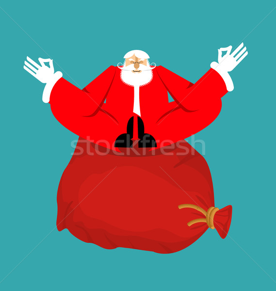 Santa Claus yogi and Red bag with gifts. Christmas yoga. New Yea Stock photo © popaukropa