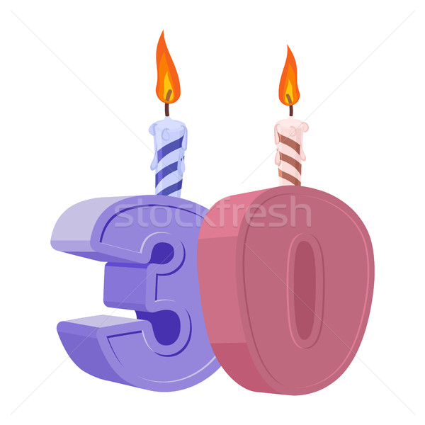 30 lat urodziny numer Świeca wakacje Zdjęcia stock © popaukropa