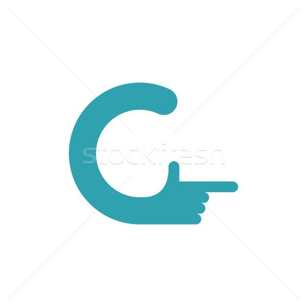 C letter hand. Forefinger lettering isolated on white background Stock photo © popaukropa