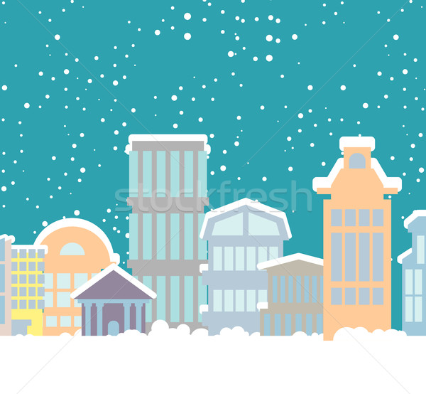 Winter Christmas City. Buildings in snow. Snowfall in town. New  Stock photo © popaukropa