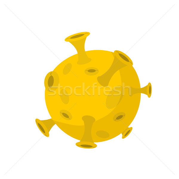 Moon isolated cartoon style. Yellow Planet of solar system on wh Stock photo © popaukropa