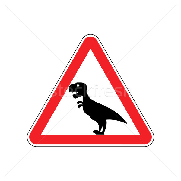 Attention dinosaur. Sign warning of dangerous predator reptile.  Stock photo © popaukropa