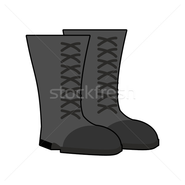 Military boots Black isolated. Army shoes on white background. s Stock photo © popaukropa