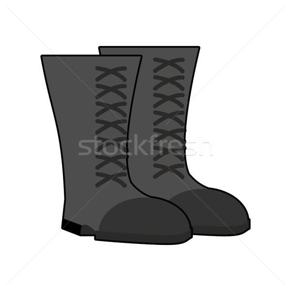 Militar botas preto isolado exército sapatos Foto stock © popaukropa