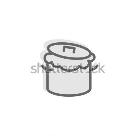 Saucepan and dough line sign. Symbol for bakery. Production brea Stock photo © popaukropa