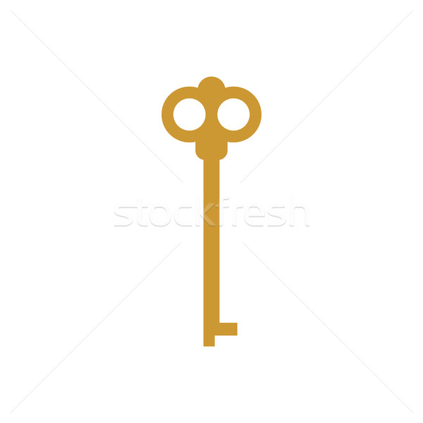 Old key isolated. Ancient door clef on white background. antique Stock photo © popaukropa