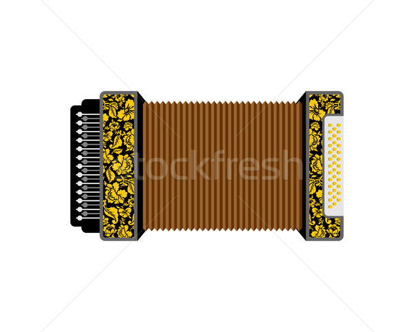 Stock photo: Accordion isolated. Russian National Folk Musical Instruments