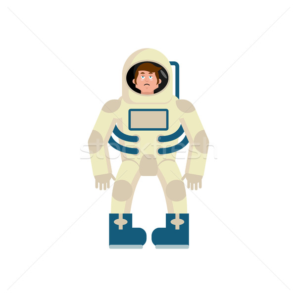 Astronaut sad Emoji. Cosmonaut sorrowful emotion isolated. space Stock photo © popaukropa