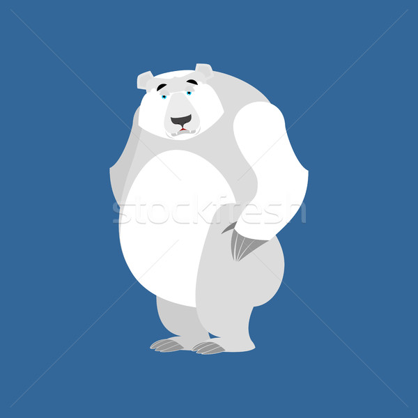 Polar Bear sad Emoji. Wild animal Arctic and Antarctic. sorrowfu Stock photo © popaukropa