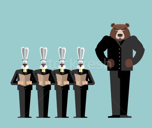 Sitzung Büro tragen groß Chef Kaninchen Stock foto © popaukropa
