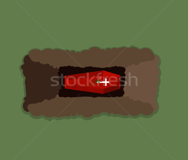 Open grave. Coffin in pit. Flowers Roses on roof of Tomb. Vector Stock photo © popaukropa