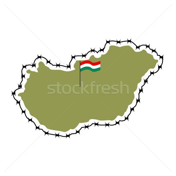 Kaart Hongarije land grens prikkeldraad europese Stockfoto © popaukropa