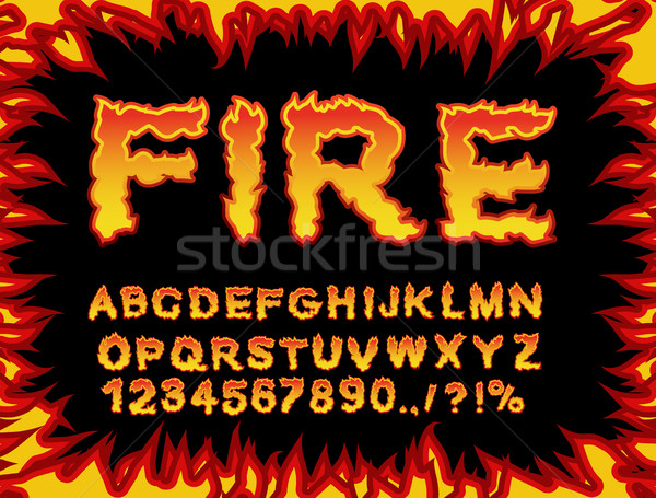 Fire font. Flame Alphabet. Fiery letters. Burning ABC. Hot typog Stock photo © popaukropa