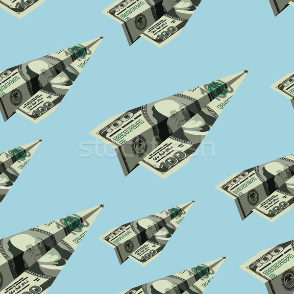 Aircraft dollars seamless pattern. Money banknote paper airplane Stock photo © popaukropa