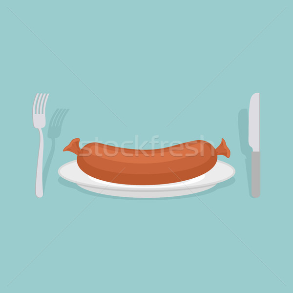 Sausage on a plate. Cutlery: knife and fork. Meat delicacy. Vect Stock photo © popaukropa