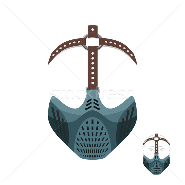 Horrible mask BDSM with leather straps. Protective helmet for sp Stock photo © popaukropa