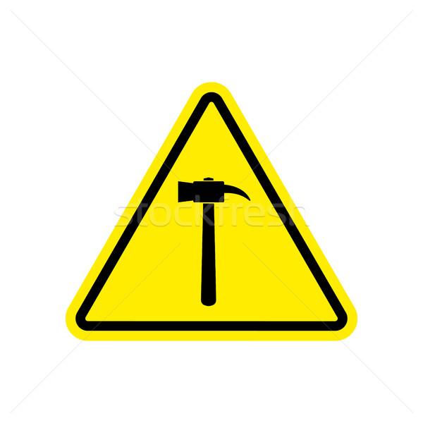 Hammer Warning sign yellow. Repair Hazard attention symbol. Dang Stock photo © popaukropa