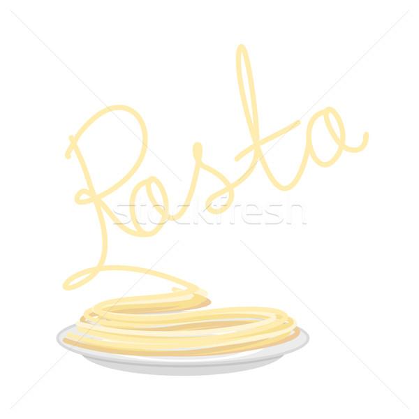 Macarrão prato isolado espaguete prato branco Foto stock © popaukropa