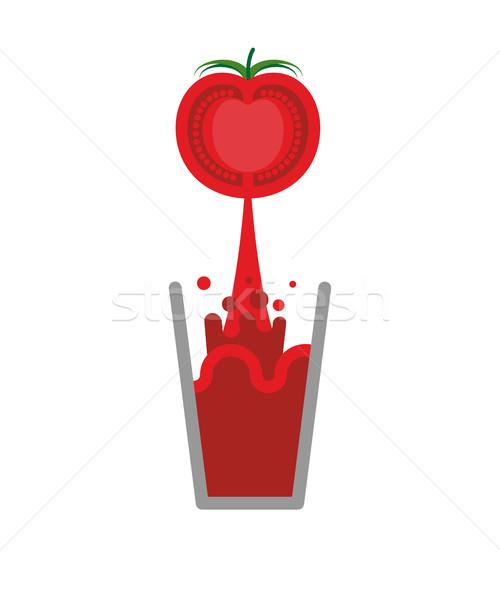 Sok pomidorowy szkła odizolowany nektar pomidory czerwony Zdjęcia stock © popaukropa