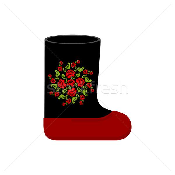 Foto stock: Russo · inverno · botas · pintura · quente · sapatos