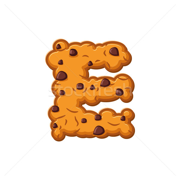 E letter cookies. Cookie font. Oatmeal biscuit alphabet symbol.  Stock photo © popaukropa