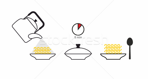 Instructions cooked quick-cooking pasta. Pour boiling water in a Stock photo © popaukropa