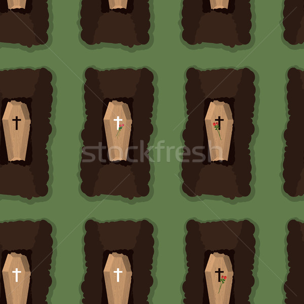 Top view of cemetery. seamless pattern coffins. Vector illustrat Stock photo © popaukropa