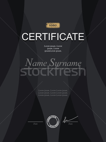 Black stylish certificate. Template for diploma. Strict modernis Stock photo © popaukropa