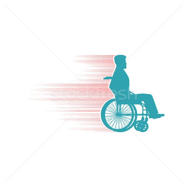 Disabled person in chair wheelchair travels fast. Speed Wh Stock photo © popaukropa