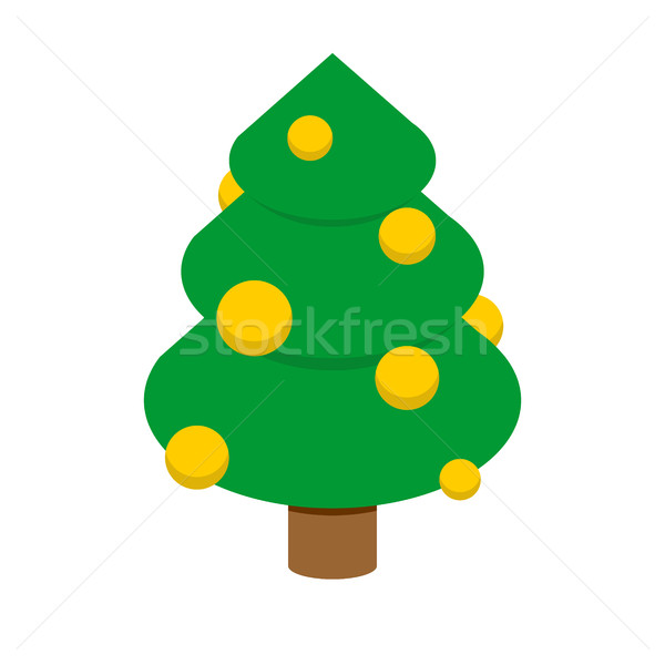 Christmas tree isometric style. Decorated fir geometry for holid Stock photo © popaukropa