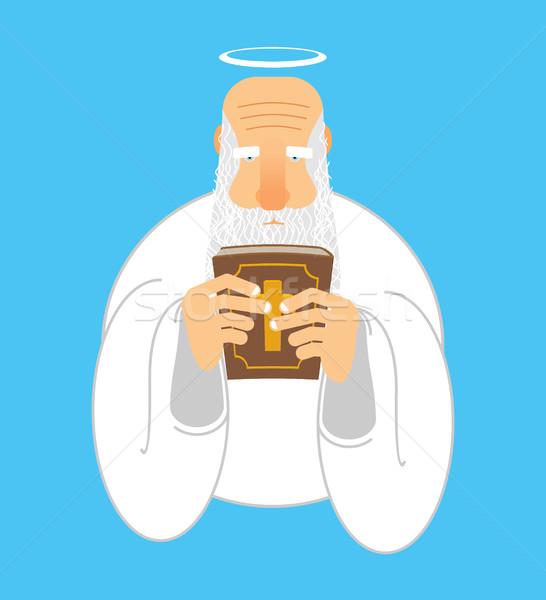 God bijbel oude man halo heilig boek Stockfoto © popaukropa