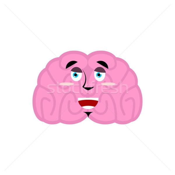 brain happy emotion. Human brains Emoji marry. Isolated Mind Stock photo © popaukropa