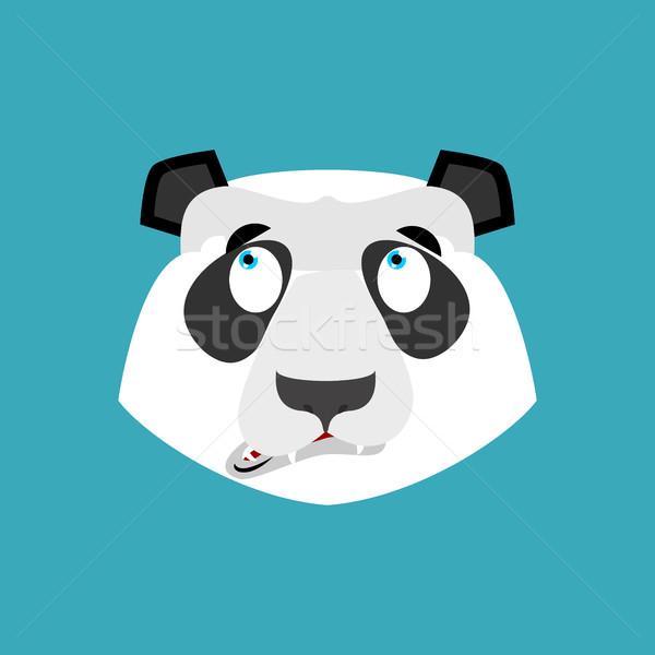 Panda surprised Emoji. Chinese bear astonished emotion isolated Stock photo © popaukropa