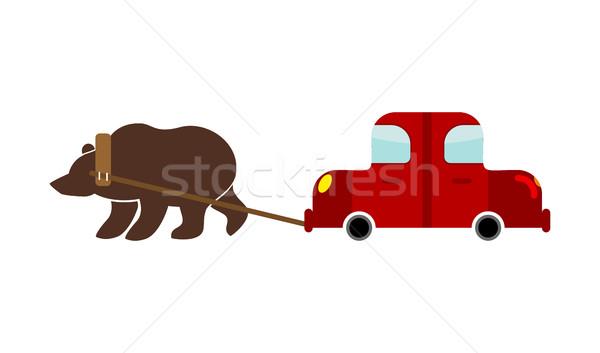 ロシア クマ 車 伝統的な 道路 自然 ストックフォト © popaukropa