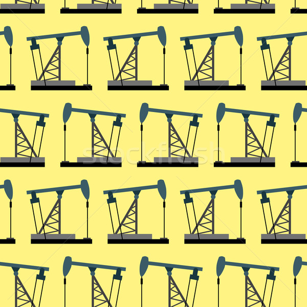 Oil rig seamless pattern. Oil pump pumps oil vector background. Stock photo © popaukropa