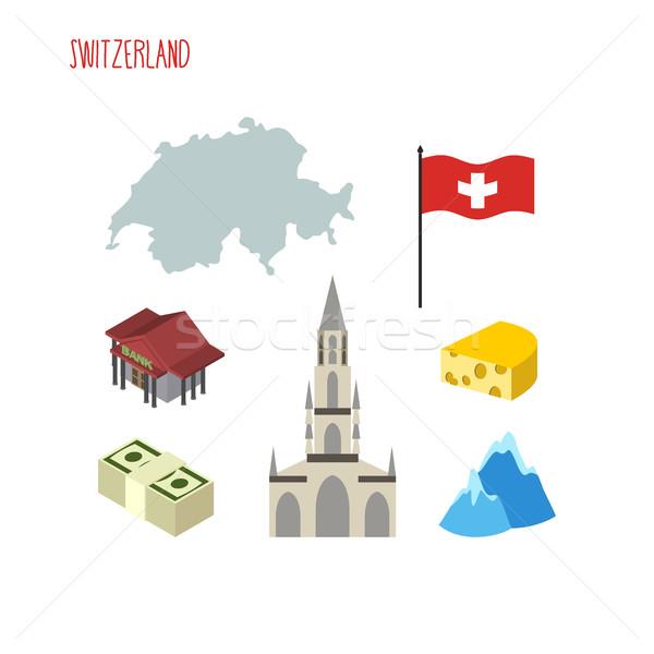 Icônes Suisse carte pavillon pays Photo stock © popaukropa