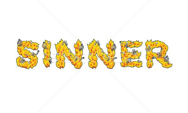 письма пламя ад огня костях оранжевый Сток-фото © popaukropa