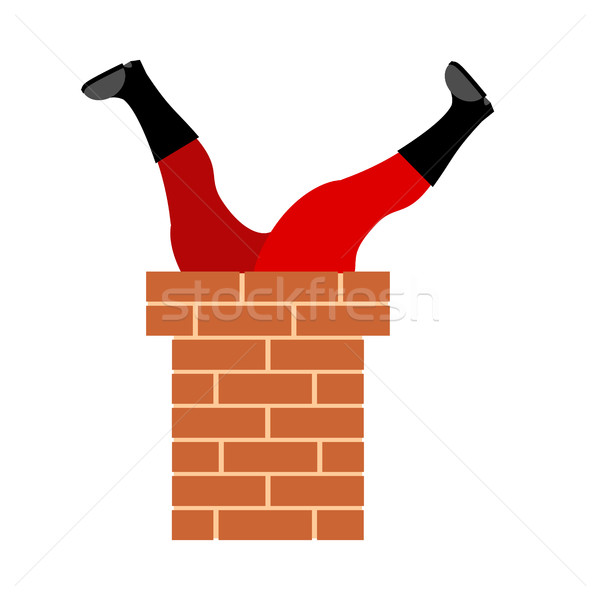 Santa Claus stuck in chimney. Legs Santa isolated. Christmas and Stock photo © popaukropa